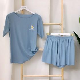 夏薄款冰丝睡衣女短袖短裤两件套韩版小雏菊刺绣家居服