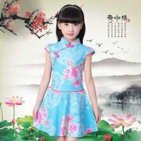 儿童旗袍新款改良夏季小女孩唐装连衣裙中国风裙摆女童