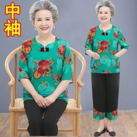 棉麻套装老年人夏装太太衣服中老年妈妈短袖T恤两件套