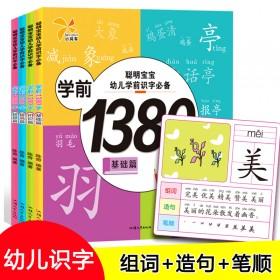 4册 幼儿学前识字1380字大字 带笔顺组词造句