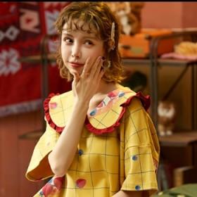 睡衣女士夏天纯棉睡裙女韩版可爱学生加大码少女