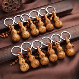 葫芦钥匙扣桃木雕挂件手工创意辟邪保平安用招财钥匙串