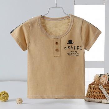 2020新款夏竹节棉儿童T恤男女童3-8岁透气短袖