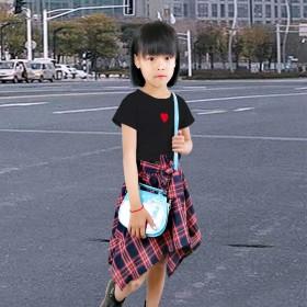 女童套装爱心T恤短袖不规则格子裙