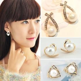 耳环耳钉,耳饰品银饰花朵珍珠防过敏银针耳夹扣子
