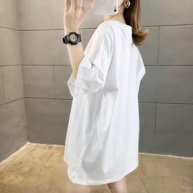 2020夏季新款纯棉中长款学生卡通韩版宽松显瘦短袖