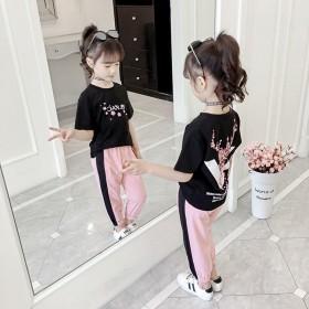 女童套装短袖T恤长裤运动裤两件套2020夏季新款网