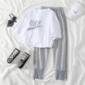 实拍休闲套装女夏季新款宽松港味短袖T恤哈伦裤运动韩