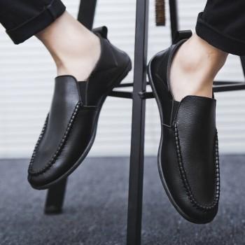 男士春夏豆豆鞋皮鞋一脚蹬