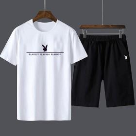 花花公子短袖T恤运动套装两件套男大码短裤夏季薄款