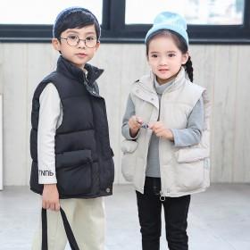 反促销秋冬儿童羽马甲韩版男女宝宝羽绒棉中大童立领保