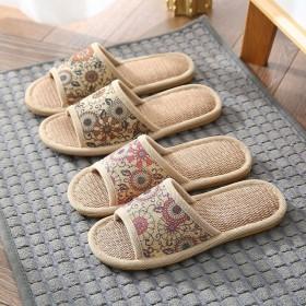 家用拖鞋女男亚麻居家室内春夏舒适凉爽日系韩式地板防