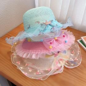 儿童帽子女夏防晒公主沙滩帽出游遮阳帽女童草帽太阳帽