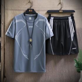 运动套装夏季男透气短袖薄款休闲青少年T恤五分短裤中