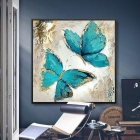 沙发后面挂画背景墙客厅三联简约现代油画蝴蝶花装饰画