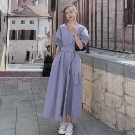 典雅连衣裙香芋紫气质女神范赫本风可盐可甜大领口