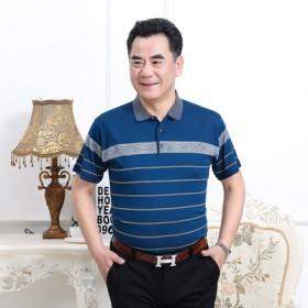 男士桑蚕丝短袖t恤中老年翻领宽松爸爸装夏季
