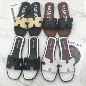 夏季韩版女士拖鞋室外一字拖平跟休闲时尚透气耐磨防滑