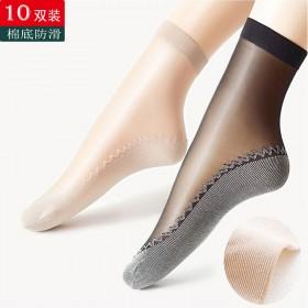 水晶肉色丝袜女薄款防勾丝短耐磨夏季黑色袜子棉底