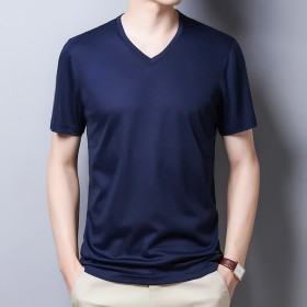 桑蚕丝短袖t恤男纯色体恤衫男装上衣服夏季半袖