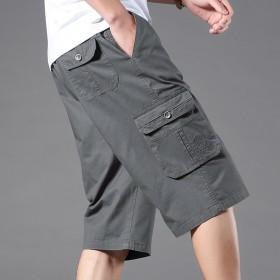 纯棉七分裤男宽松大码爸爸装外穿休闲短裤中年男士中裤