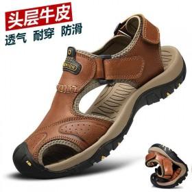骆驼头层牛皮凉鞋男夏季户外登山防滑鞋软底真皮鞋爸爸