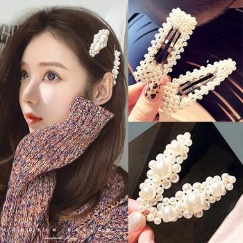 网红发夹韩国少女珍珠一字边夹后脑勺头发夹子头饰刘海