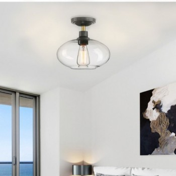 家用简约现代创意北欧扁球型清光玻璃半吸顶灯