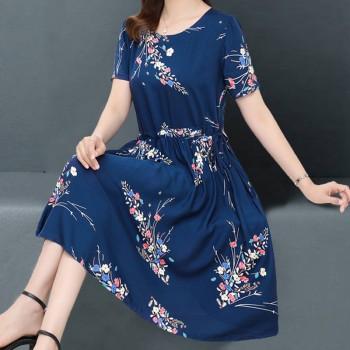 中老年女装夏装棉绸连衣裙过膝中长款中年妈妈装短袖大