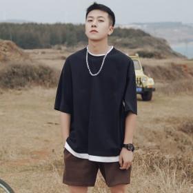 港风假两件短袖t恤男夏季纯色男士宽松半袖圆领韩版潮