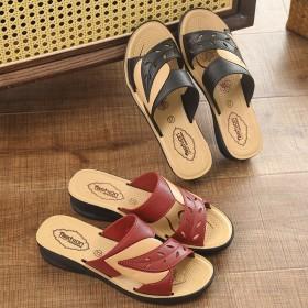 中老年女鞋_妈妈拖鞋夏季新款凉拖鞋平底中老年室外穿