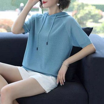 冰丝短袖T恤女新款连帽打底衫夏装薄款针织衫女宽松超