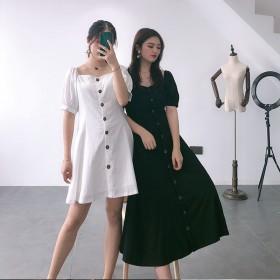 胖mm法式桔梗裙2020新款收腰显瘦复古泡泡袖方领