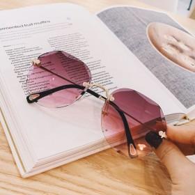 欧美切边新款无框太阳镜大框网红明星款女士镜墨镜