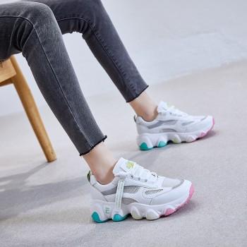 彩虹老爹鞋女透气2020夏季新款韩版网面小白鞋女学