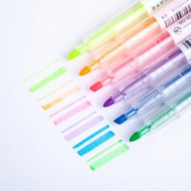 【1包6支】双头荧光笔记号笔划重点圈彩色斜头标记笔