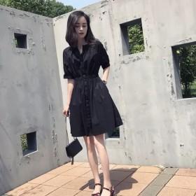 夏季新款女装韩版收腰显瘦休闲风中长款蓝色气质V领