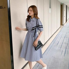 学院风衬衫裙子女夏季新款韩版中长款收腰显瘦条纹撞色