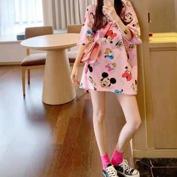 2020年夏季粉色系米奇短袖t恤女东大门女装韩版宽