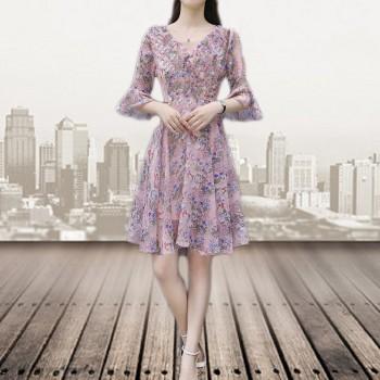 欧时尚设计感小众连衣裙v长款雪纺泡泡袖收腰赫本风气