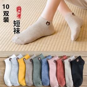 2020年夏季新款女薄款透气吸汗卡通纯色小熊短袜子