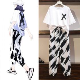 大码休闲运动套装女夏2020新款韩版宽松显瘦两件套