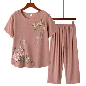 中老年人女装夏装妈妈短袖仿棉麻中年洋气2020新款
