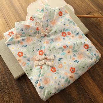 改良版旗袍年轻款日常可穿生活装少女甜美俏皮短袖连衣