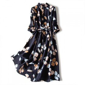大码女装连衣裙复古雪纺印花衬衫裙胖mm收腰宽松遮肉