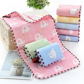 5-10条纯棉纱6层纱布童巾儿童毛巾长方形洗脸巾柔