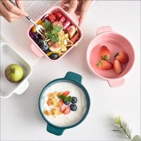 北欧创意双耳陶瓷早餐碗烘焙蒸蛋甜品碗沙拉碗可蒸煮烤