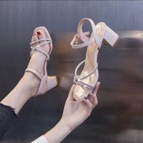 新款仙女风水钻凉鞋女时尚百搭高跟鞋潮
