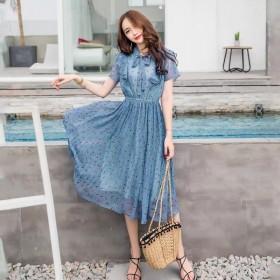 夏季新款波点连衣裙印花小清新过膝雪纺收腰裙显瘦中长