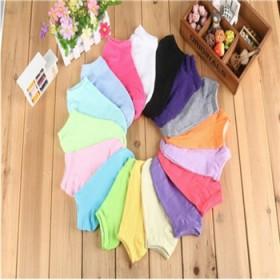袜子女士韩版糖果色纯色女袜短筒韩国棉船袜女春夏季